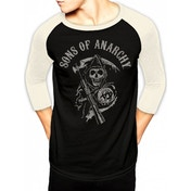 Sons Of Anarchy - Logo Men's X-Large Baseball Shirt - Black