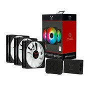 Riotoro Quiet Storm 12cm RGB PWM Fan Kit - 3 x Fans & RGB Controller, 10 Addressable RGB LEDs, Hydraulic Bearing