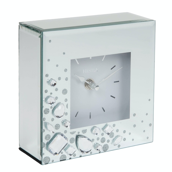 HESTIA Mirror Glass Mantel Clock with Large Crystals