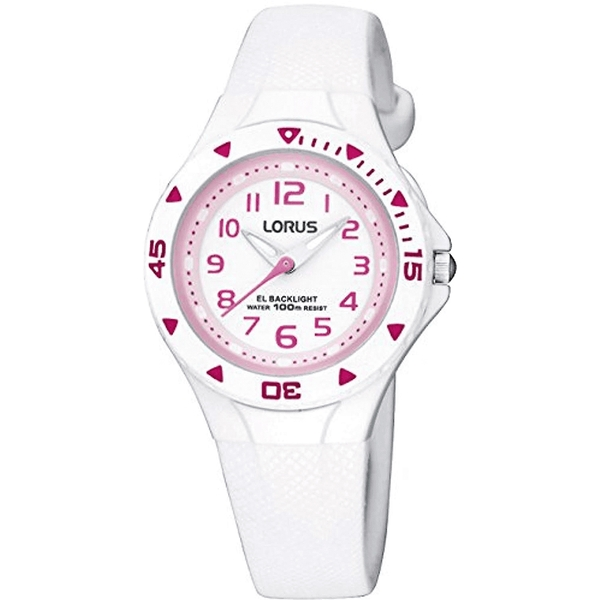Lorus R2335DX9 Chidrens Analogue Watch - White with Pink Numerals