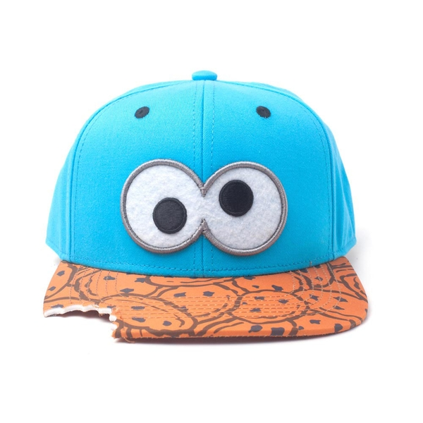 Sesame Street - Eyes With Cookie Bite Unisex X-LargeSnapback Baseball Cap - Blue/Pattern