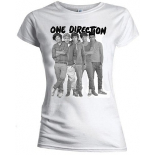 One Direction Group Standing Blk & White Skinny TS: Medium