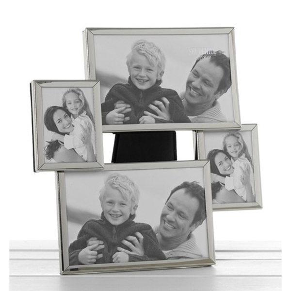 Shiny Silver Collage Frame 4 Pictures