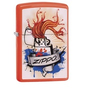 Zippo Splash Neon Orange Finish Windproof Lighter