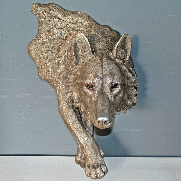 Antique Silver Large Wolf Wall Art