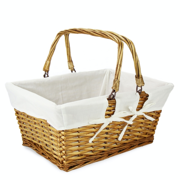 Willow Storage Basket with Cotton Lining Brown | M&W