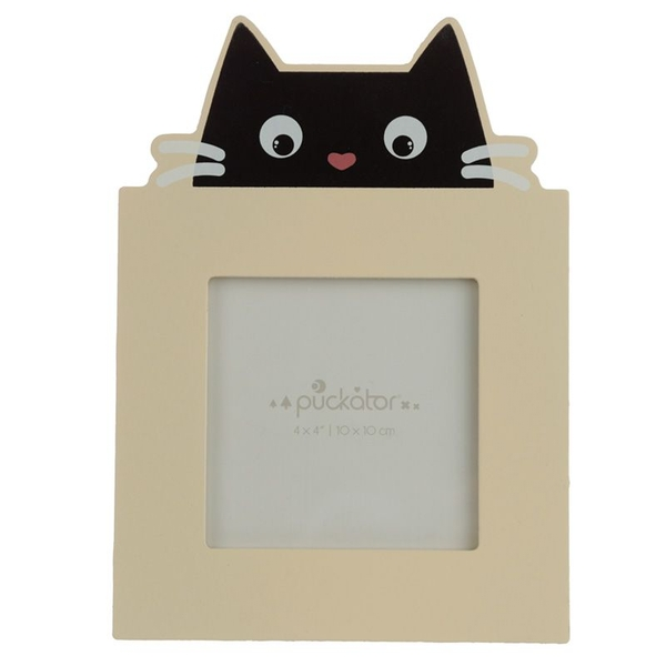 Feline Fine Black Cat Wooden Photo Frame