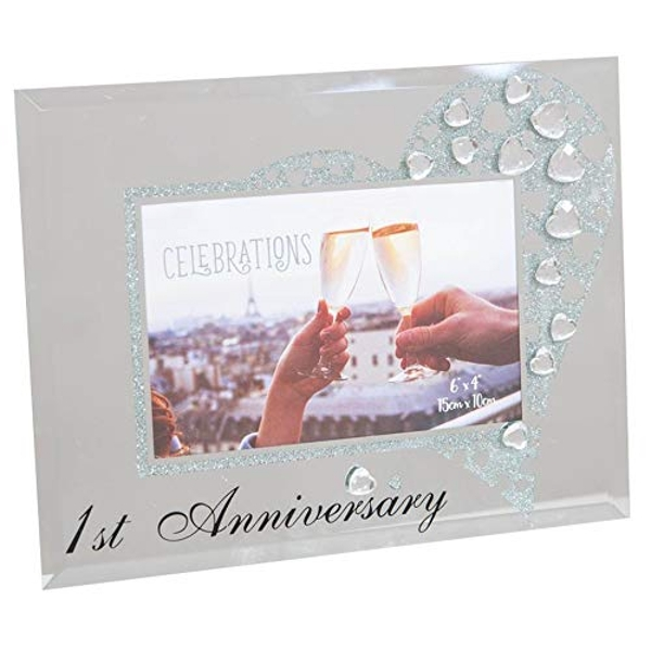 "6"" x 4"" - CELEBRATIONS? Glass & Crystal Frame - Anniversary"