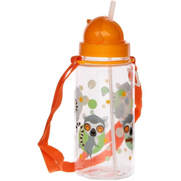 450ml Childrens Reusable Water Bottle with Straw - Lemur Mob