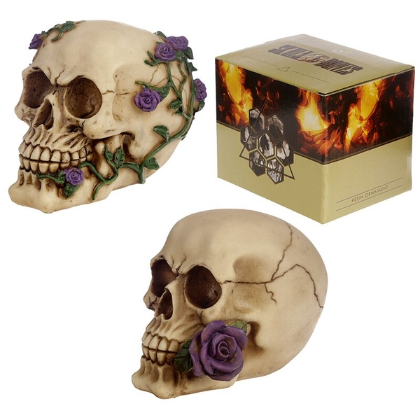 Skull Decoration with Purple Roses (1 Random Supplied)