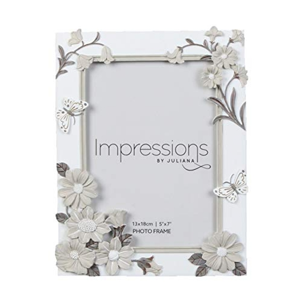 "5"" x 7"" - Impressions White Floral Resin Frame"