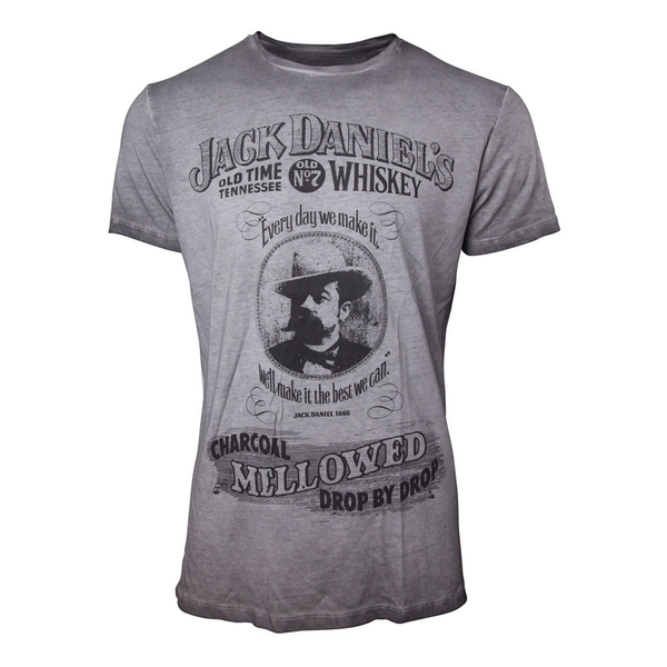 Jack Daniel's - Charcoal Mellowed 'Drop by Drop' Men's Small T-Shirt - Grey