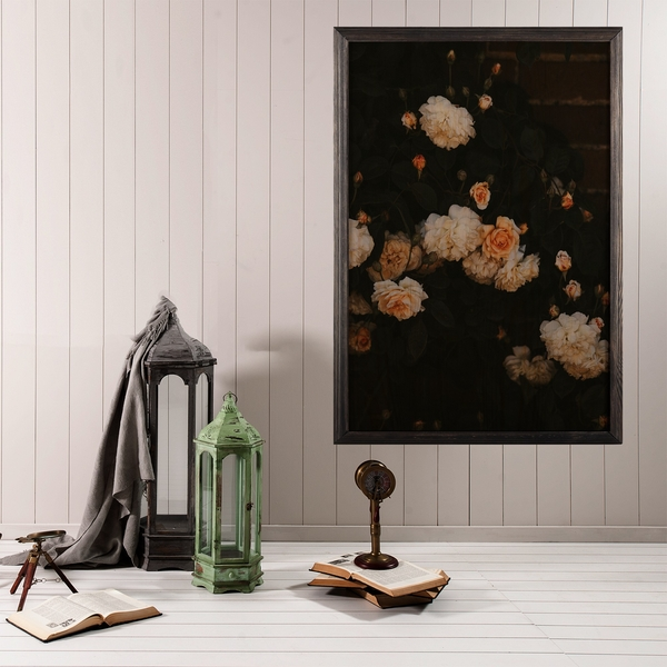 White Flowers Multicolor Decorative Framed Wooden Painting