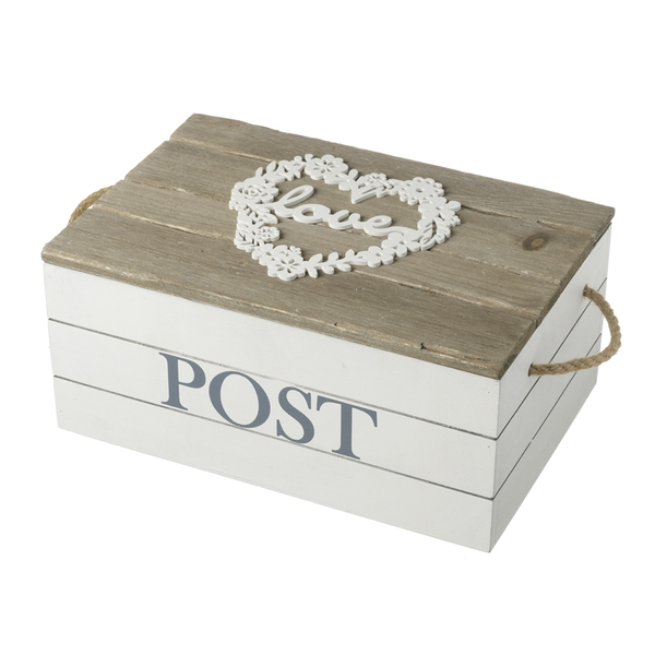 Rectangle Wooden Love Design Post Box with Rope Handles By Heven Sends