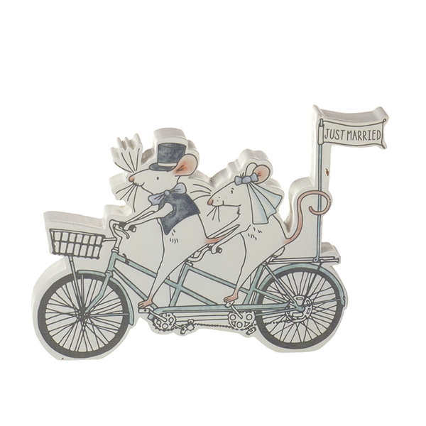 Just Married Mr & Mrs Mouse On Tandem Wedding Keepsake Gift Decoration By Heaven Sends