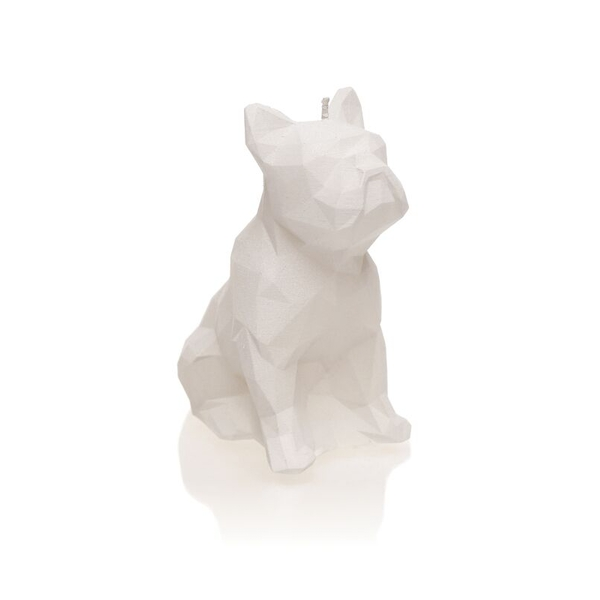 White Low Poly Bulldog Candle