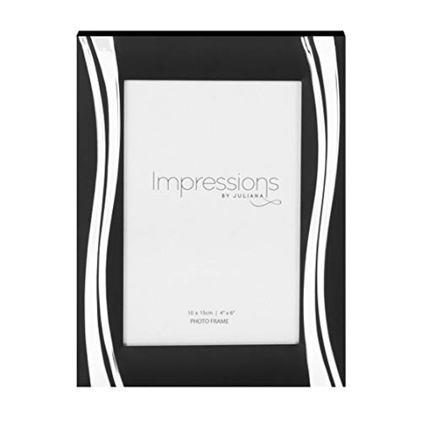 """4"""" x 6"""" - Impressions Black Photo Frame with Silver Waves"""