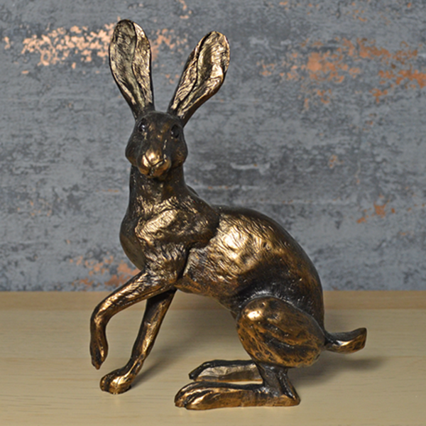 Bronze Effect MoonDaisy Hare Sculpture 19cm