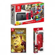 Nintendo Switch Console with Red Joy-Con Controllers + Super Mario Odyssey + Rayman + Super Mario Odyssey Accessory Pack