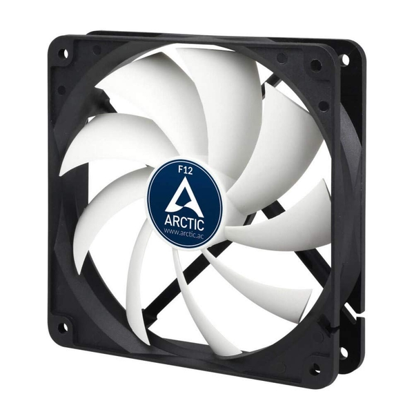 Arctic F12 Low Noise 12cm Case Fan, Black & White, 9 Blades, Fluid Dynamic, 6 Years