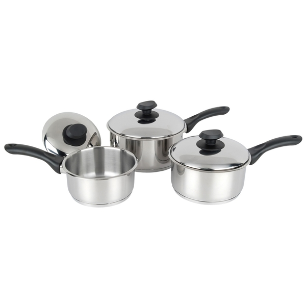 Pendeford Stainless Steel Collection Sauce Pan Set 3 Piece