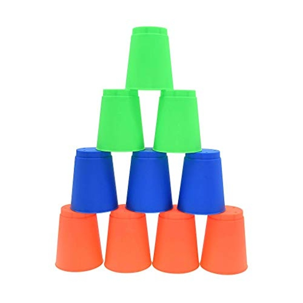 Pre-Sport Unisex-Youth Stacking Cups (Pack of 12), Blue/Green/Orange