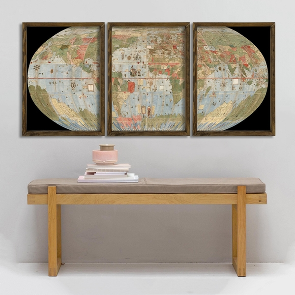 Map085 Multicolor Decorative Framed MDF Painting