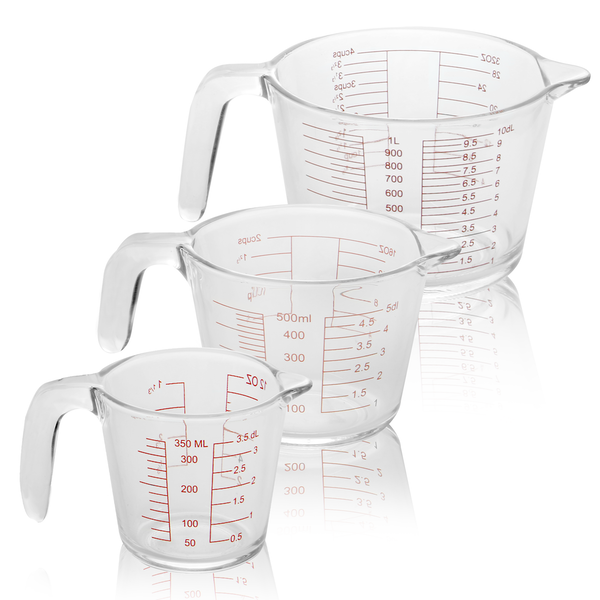 Set of 3 Glass Measuring Jugs | M&W