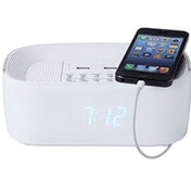 Groov-e Bluetooth Speaker with Alarm Clock Radio & USB Ports White UK Plug