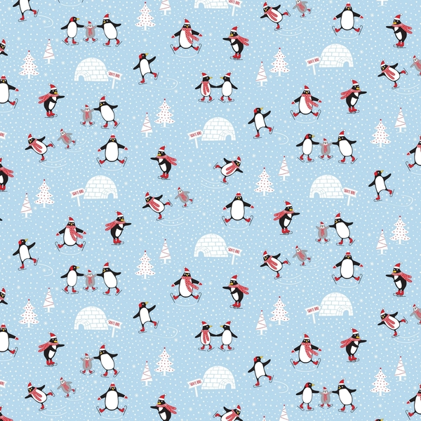 Sass & Belle Skating Penguins Wrapping Paper