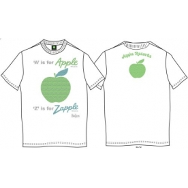 A is for Apple Mens White Vintage Print T Shirt: Small