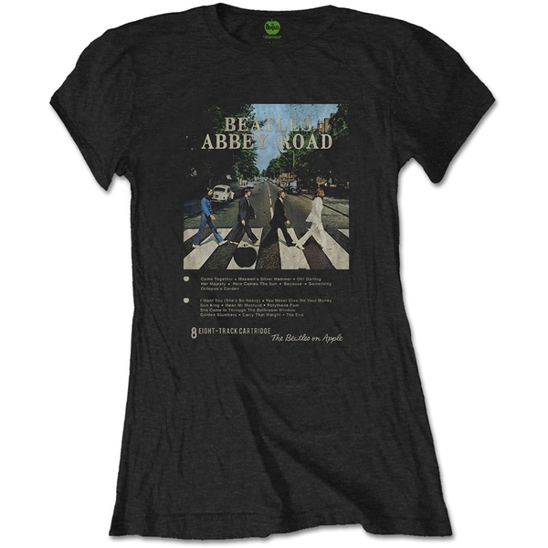 The Beatles - Abbey Road 8 Track Ladies Large T-Shirt - Black