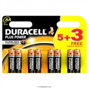 Duracell Plus Power AA 5 Pack + 3 Free