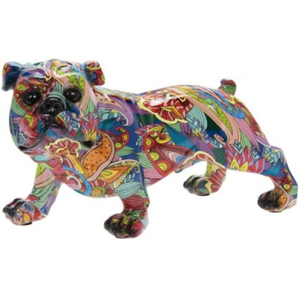 Colourful Floral Bulldog 14cm