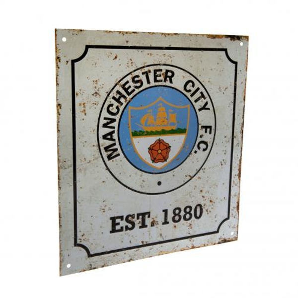 Manchester City FC Retro Logo Sign