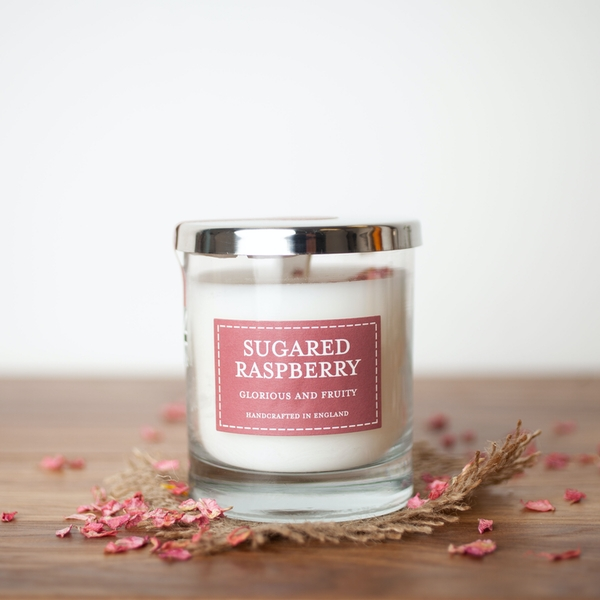 Sugared Raspberry (Pastels Collection) Glass Candle - Image 1