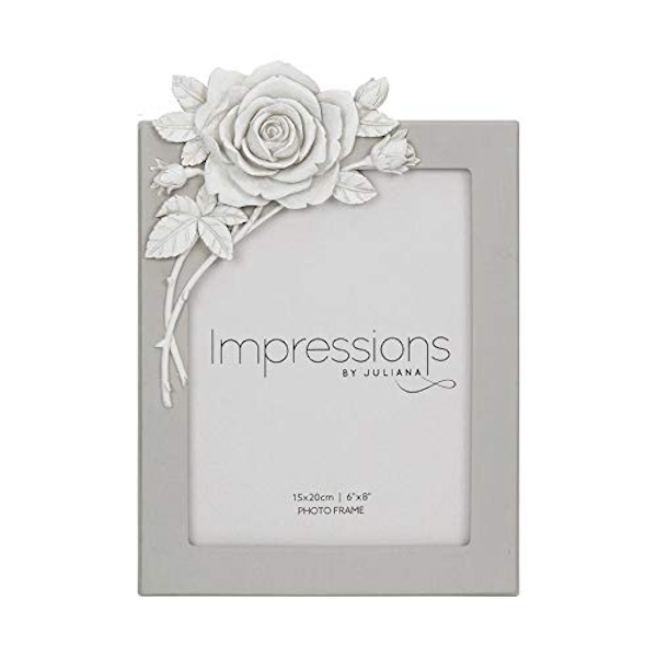 "6"" x 8"" - Impressions Grey Resin Photo Frame with Rose"