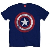 Captain America Distressed Shield  Navy TS: Small