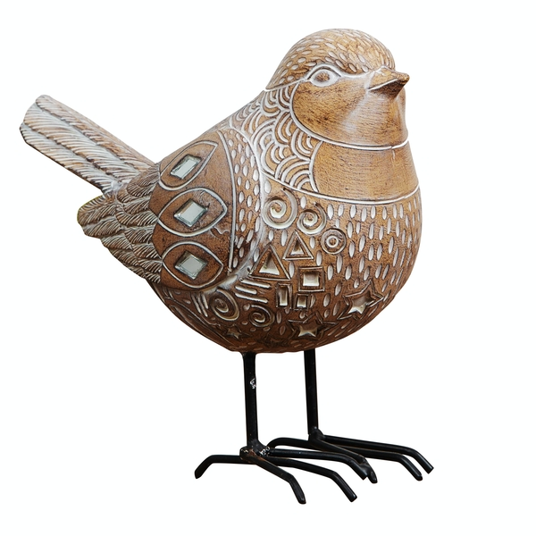 Carved Sandstone Effect Bird Ornament with Mirror Mosaic