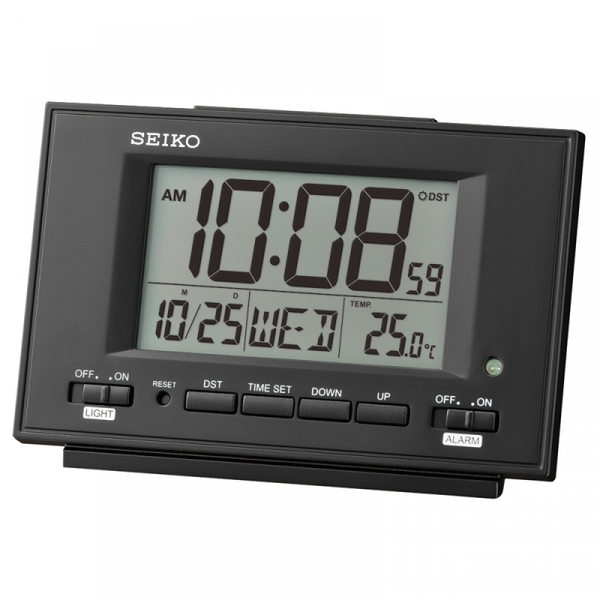 Seiko QHL075K LCD Alarm Clock with Calendar and Thermometer White