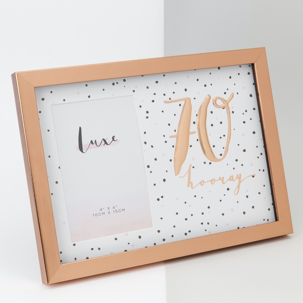 """4"""" x 6"""" - Luxe Rose Gold Birthday Frame - 70"""