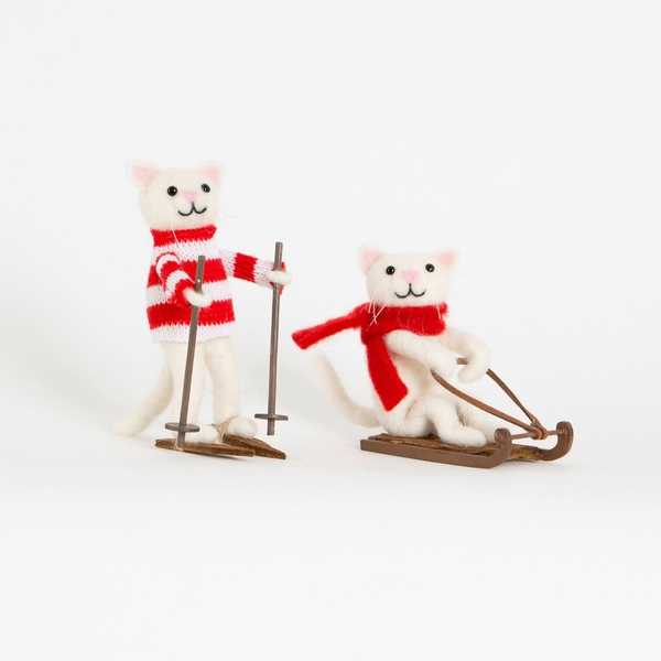 Sass & Belle Skiing & Sledging Cat Decoration (One Random Supplied)
