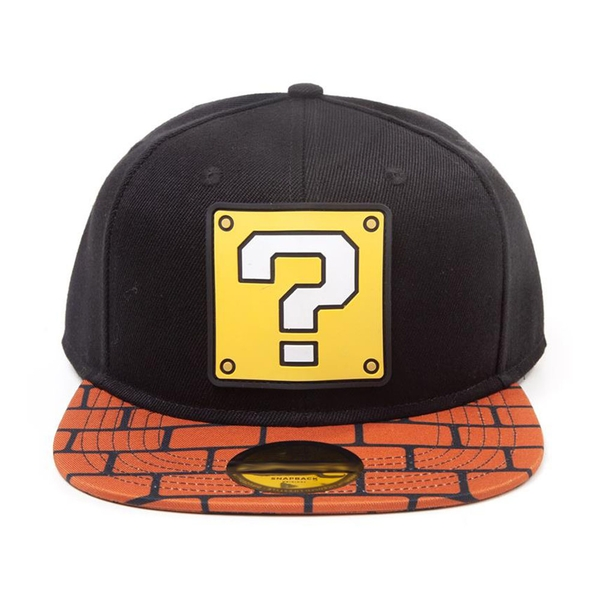 Nintendo - Super Mario Bros. Question Mark Patch with Brick Brim Snapback Baseball Cap (Black/Brown)