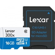 16GB Lexar 300x microSDHC with adapter Class 10