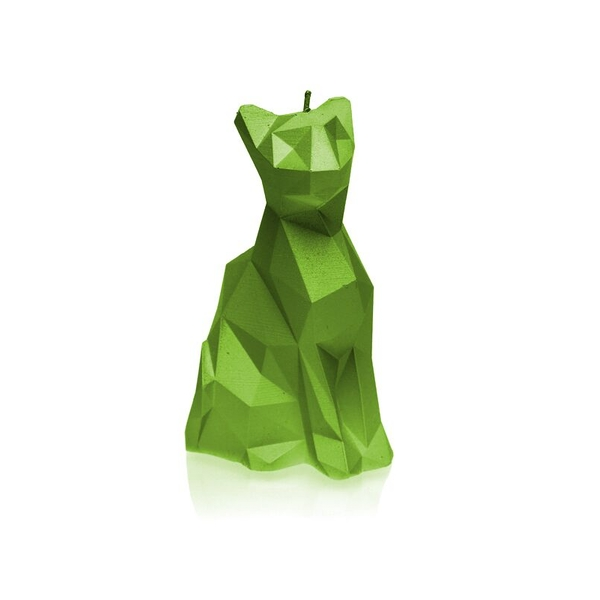 Lime Low Poly Cat Candle