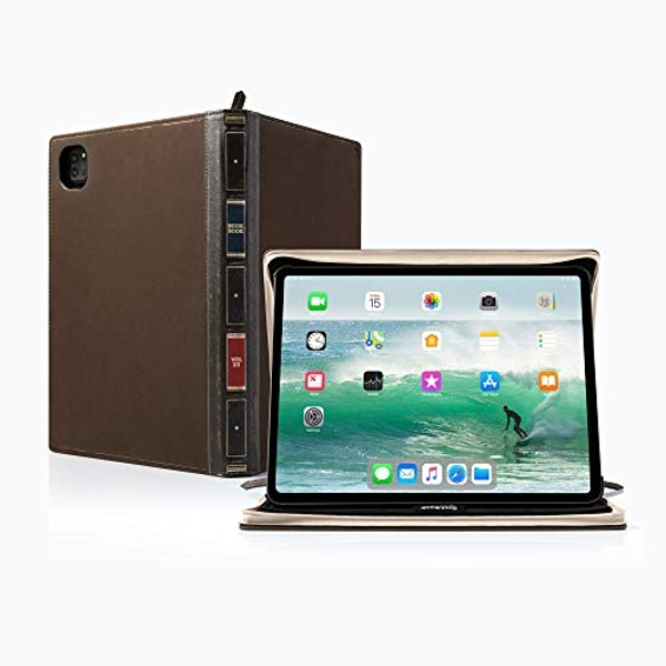 Twelve South BookBook Vol 2 for 12.9-inch iPad Pro (Gen 3 and 4) | Hardback Leather Case and Easel with Pencil/Document/Keyboard Storage for iPad Pro + Apple Pencil