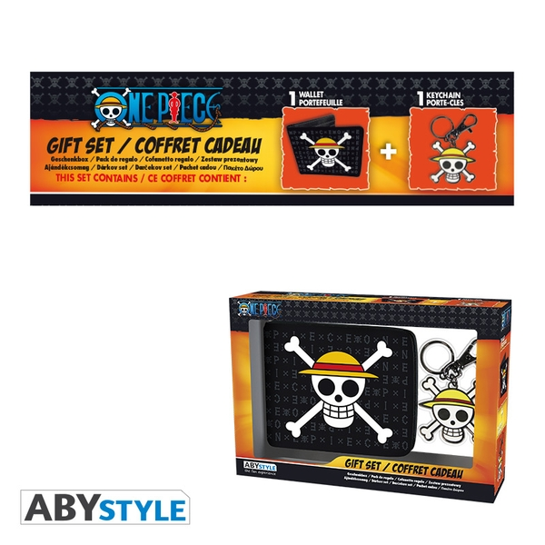 One Piece - Wallet + Keyring Skull Luffy Gift Box