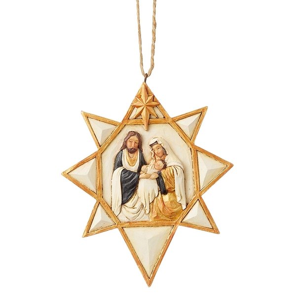 Black and Gold Nativity Star Hanging Ornament