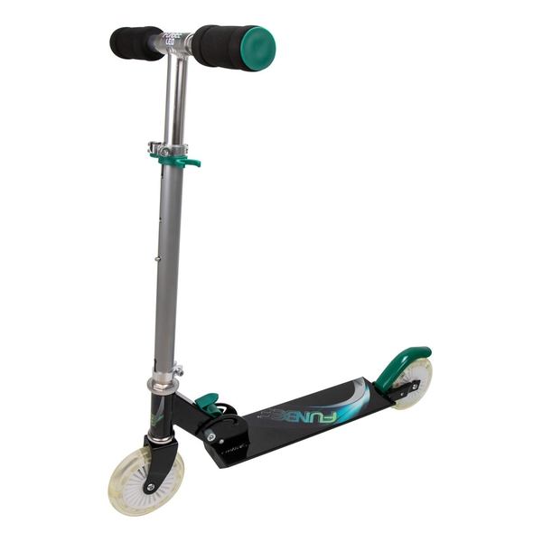 Funbee - Kid's Two Wheel Inline Foldable Scooter with Flashing LED Wheels (Multi-colour)