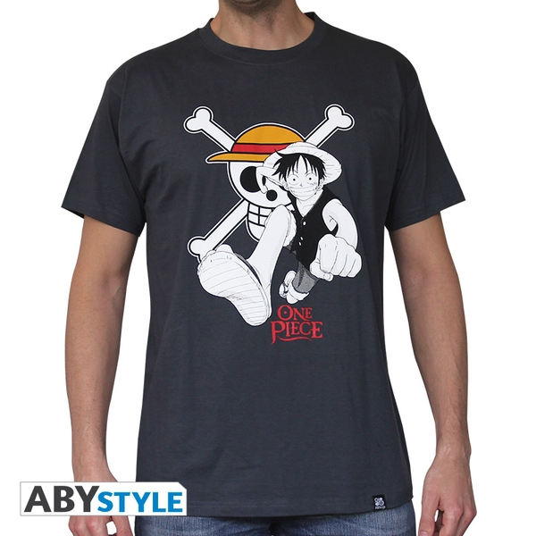 One Piece - Luffy & Emblem Men's Small T-Shirt - Dark Grey